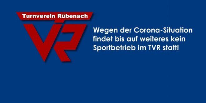 Bis auf weiteres kein Sportbetrieb im TVR!